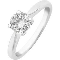 Love DIAMOND 9ct Gold 70 point Diamond Solitaire Ring, Yellow Gold, Size L, Women