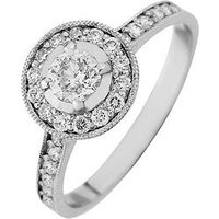 Love DIAMOND 9ct Gold 50 Point Diamond Halo Engagement Ring, Yellow Gold, Size H, Women