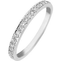 Love DIAMOND 9ct Gold 25 Point Diamond Wedding Band Ring, White Gold, Size P, Women