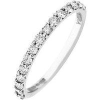 Love DIAMOND 9ct Gold 50 Point Diamond Wedding Band Ring, White Gold, Size J, Women