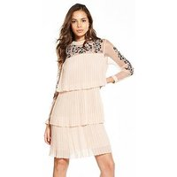 V By Very Tiered Pleated Embroidered Dress - Blush