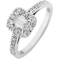 Love DIAMOND 9ct White Gold 60 Point Diamond Emerald Cut Centre Halo Ring, White Gold, Size O, Women
