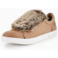 CALL IT SPRING call it spring caridi velcro plimsoll with Faux fur, Taupe, Size 5, Women