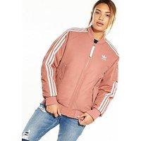 adidas Originals Short Bomber Jacket - Pink , Raw Pink, Size 12, Women