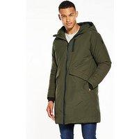 V by Very Longline Padded Jacket, Khaki, Size M, Men