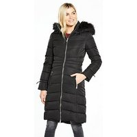 V By Very Long Padded Coat With Faux Fur Hood - Black