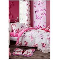 Catherine Lansfield Butterfly Single Duvet Cover Set, Pink
