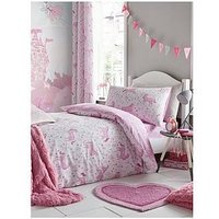 Catherine Lansfield Folk Unicorn Single Duvet Cover Set, Pink