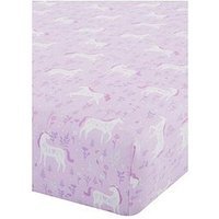 Catherine Lansfield Folk Unicorn Single Fitted Sheet, Pink