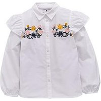 V by Very Girls Embroidered Floral Ruffle Shirt, White, Size Age: 15 Years, Women