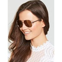 MICHAEL KORS Mirror Lens Aviator Sunglasses, Rose Gold, Women