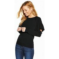 V by Very Petite Cut Out Detail Premium Knit Jumper, Black, Size 6, Women