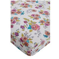 Catherine Lansfield Floral Birdcage Cotton Rich Fitted Sheet, Multi, Size Single