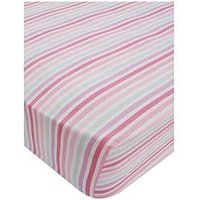 Catherine Lansfield Pastel Hearts Cotton Rich Fitted Sheet, Multi, Size Single