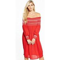 V by Very Sheared Bodice Midi Dress, Red, Size 10, Women