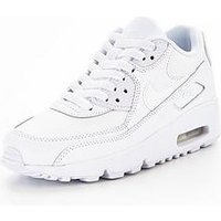 Nike Air Max 90 Leather Junior Trainer, White/White, Size 4