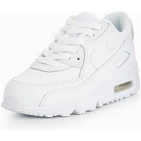 Nike Nike Air Max 90 Leather Childrens Trainer, White/White, Size 13