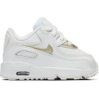 Nike Air Max 90 Leather Infant Trainer, White/Gold, Size 7