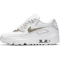 Nike Air Max 90 Leather Junior Trainer, White/Gold, Size 5.5