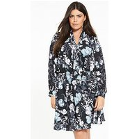V by Very Curve Wrap Front Pussy Bow Tea Dress, Print, Size 26, Women