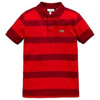 Boys, Lacoste Lacoste Short Sleeve Classic Stripe Jersey Polo, Red, Size 14 Years