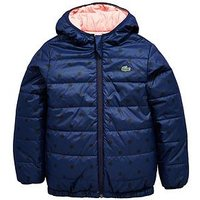 Lacoste Girls Spot Print Reversible Quilted Coat, Navy/Pink, Size 16 Years, Women