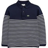 Lacoste Boys Long Sleeve Stripe Polo, Navy/White, Size 16 Years