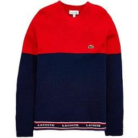 Lacoste Boys Colour Block Sweater, Navy/Red, Size Age: 8 Years