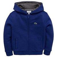 Lacoste Sports Boys Zip Through Hooded Sweatshirt, Blue, Size 12 Years