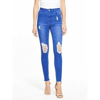 V by Very Ella High Rise Rip Knee Skinny - Fresh Blue, Fresh Blue, Size 20, Inside Leg Regular, Women