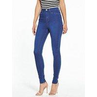 V by Very Short Addison High Waist Super Skinny Raw Hem, French Blue, Size 14, Inside Leg Short, Women