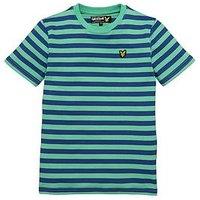 Lyle & Scott Boys Micro Stripe Short Sleeve T-shirt, Green, Size 12-13 Years