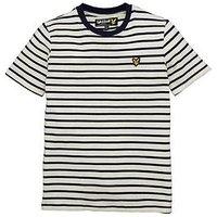 Lyle & Scott Boys Breton Stripe Short Sleeve T-shirt D, Indigo, Size 14-15 Years