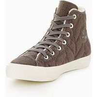 Converse CTAS Quilted Shearling Lined Hi-Tops - Grey , Grey, Size 4, Women
