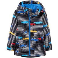 Joules Boys Skipper Waterproof Rubber Coat, Navy Stripe, Size Age: 1 Year