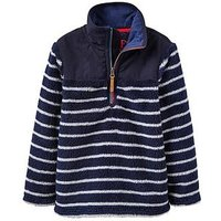 Joules Boys Woozle Half Zip Fleece, Navy Stripe, Size 6 Years