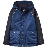 Joules Boys Playground Fleece-Lined Waterproof Coat, Navy, Size Age: 4 Years