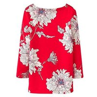 Joules Girls Harbour Print Jersey Top, Red Floral, Size Age: 1 Year, Women