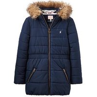 Joules Girls Belmont Waisted Padded Coat, Navy, Size 4 Years, Women