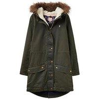 Joules Girls Wynter Wax Style Parka, Khaki, Size 5 Years, Women