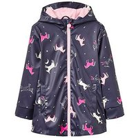 Joules Girls Raindance Printed Rubber Coat, Navy Print, Size 1 Year, Women