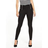 V by Very Petite Petite Zip Detail Ponti Legging, Black, Size 18, Women