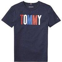 Tommy Hilfiger Boys Tommy Logo T-shirt, Navy, Size 4 Years