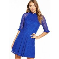V by Very Lace Embroidered Mesh High Neck Skater Dress, Electric Blue, Size 22, Women
