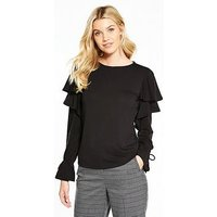 V by Very Long Sleeve Frill Tie Cuff Top, Black, Size 24, Women