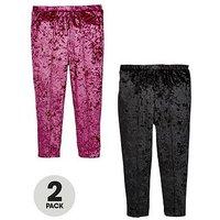 Mini V by Very Girls 2 Pack Velvet Leggings, Maroon/Black, Size Age: 3-4 Years, Women