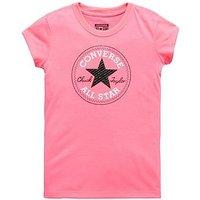 Converse Girls Chuck Patch Tee, Pink, Size 5-6 Years, Women