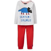 Joules Boys Byron Applique 2 Piece Outfit, Red, Size 3-6 Months