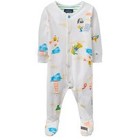 Joules Ziggy Printed Babygrow, White, Size 9-12 Months