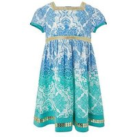 Monsoon Baby Anita Dress, Green, Size 6-12 Months